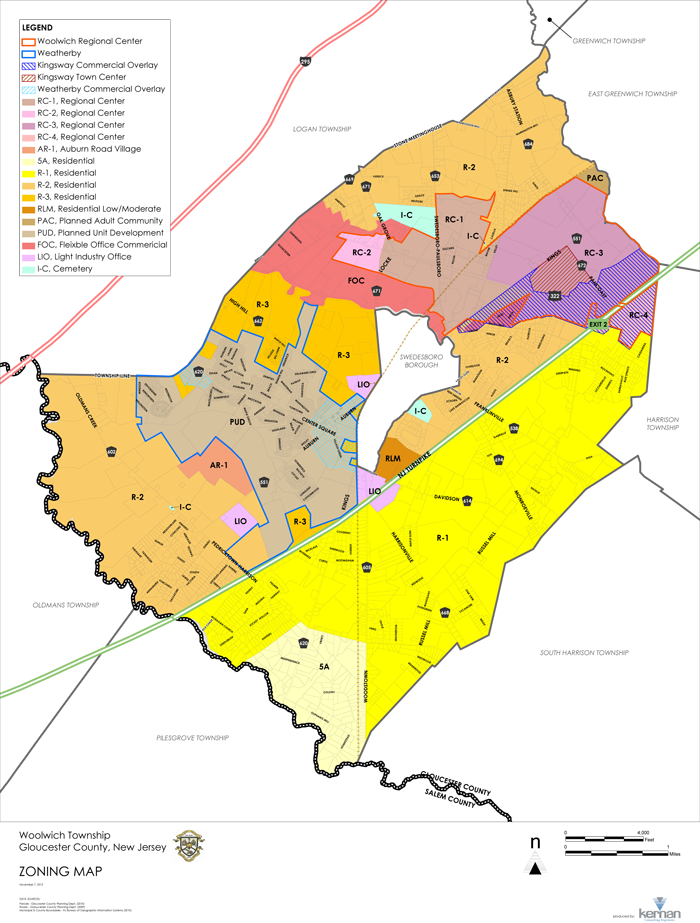 Woolwich Township Zoning Map